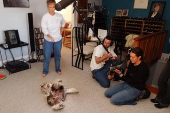 Beverley Ulbrich instructs her dog, Beavis, 7, to do a trick in San Francisco during the filming of a documentary by Zealot Pictures spanning 24 hours on Craigslist, a popular San Francisco Bay Area online community, on Monday, August 4, 2003. Josh Brooks is holding a boom while Jessica Young runs the video camera. (AP Photo/Jakub Mosur)