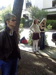 Beverly on the set with the cast