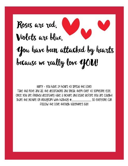 Free Valentine's Day Heart Attack Challenge Printable Letter