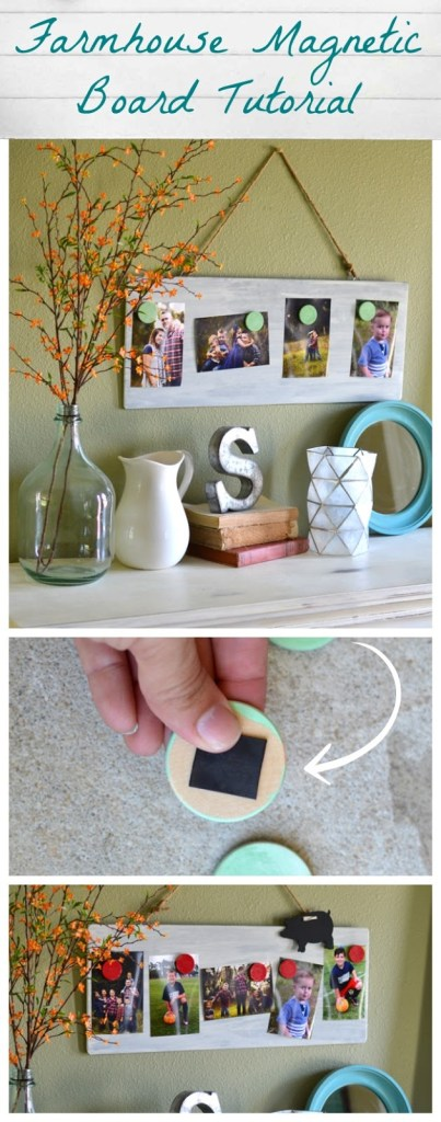Farmhouse Style Magnetic Photo Board Tutorial - Great Photo Gift Idea