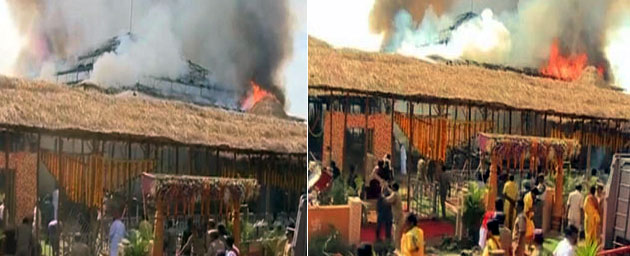 fire breaks out Ayutha chandi yagna