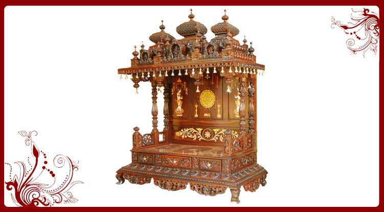 Hindu Pooja Mandir Wooden Temple Pooja Mandir