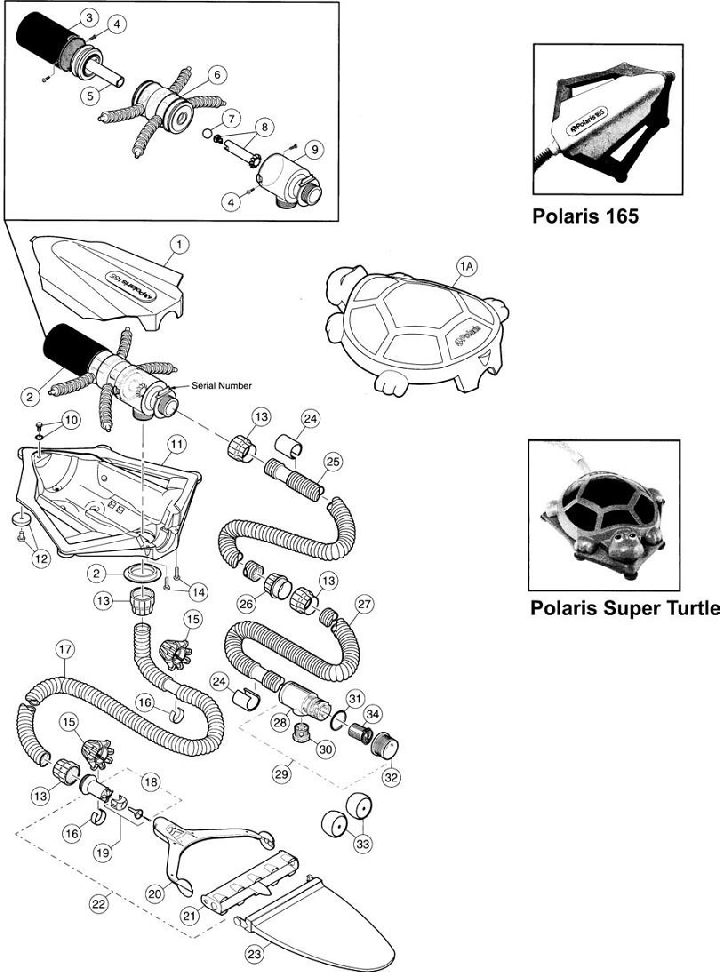 Polaris 165 & Super Turtle Pool Cleaner Parts