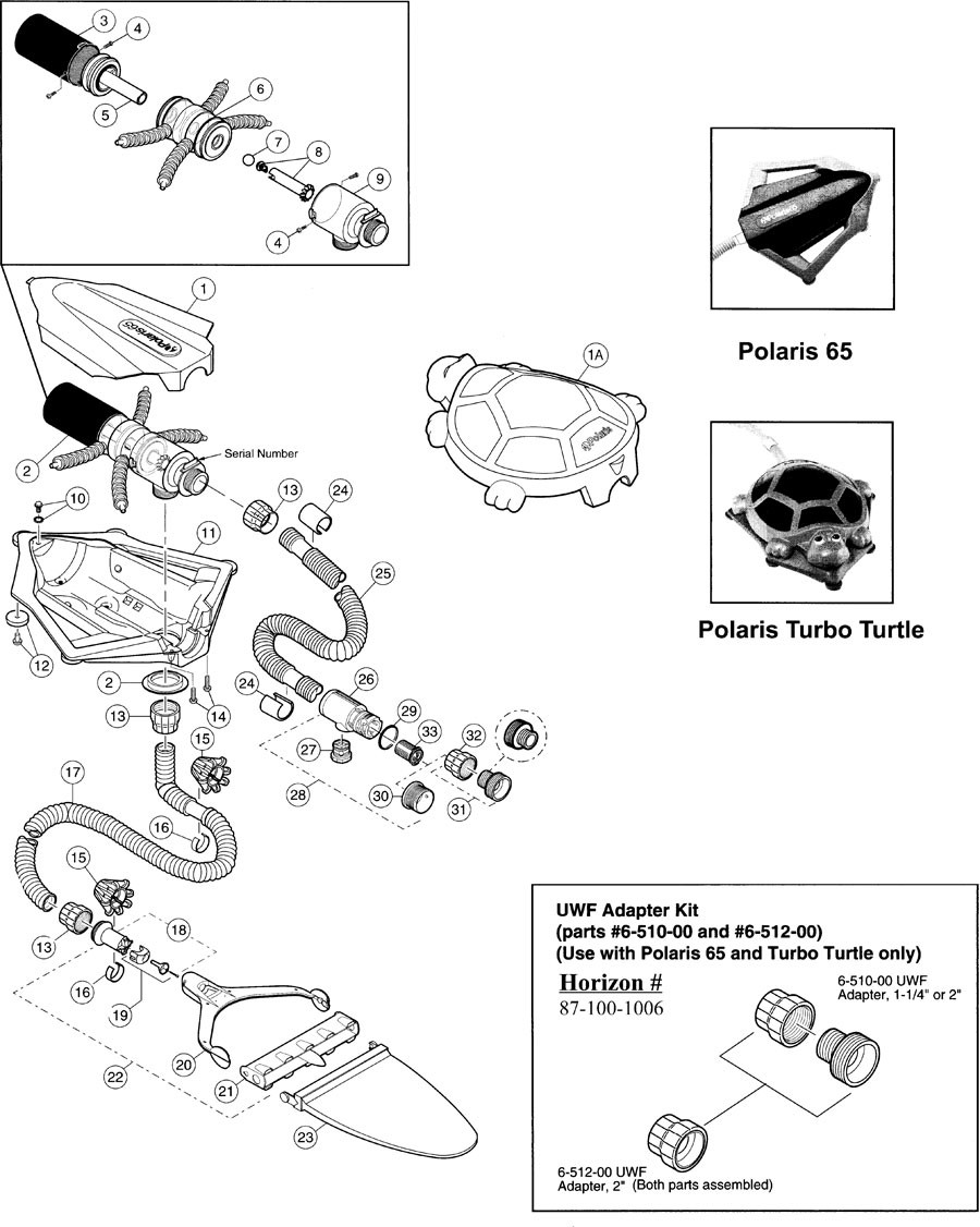 Polaris 65 & Turbo Turtle Pool Cleaner Parts