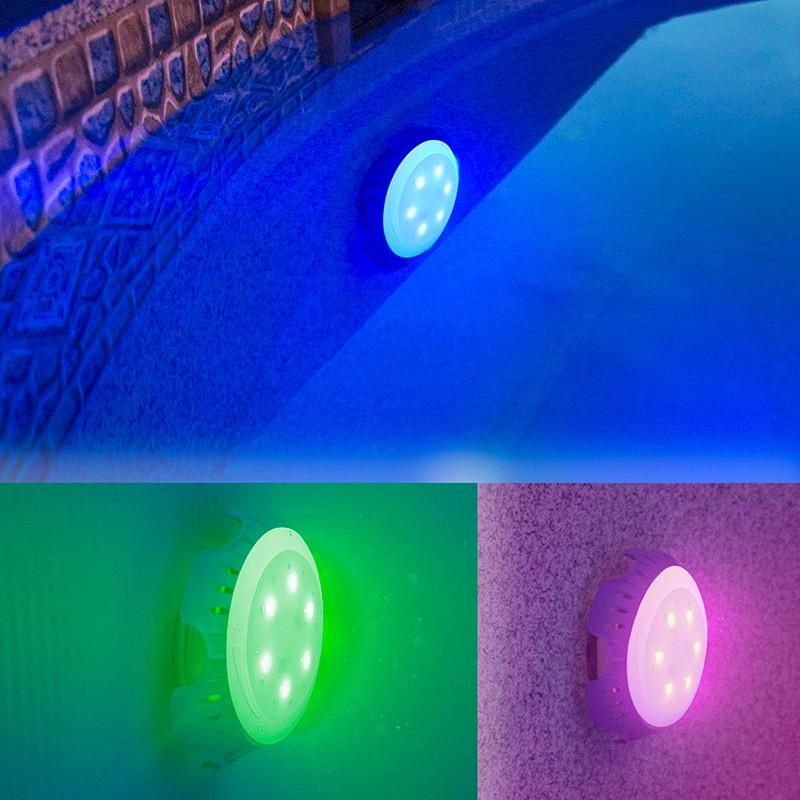 Foco proyector LED colores vlvula retorno piscina Gre