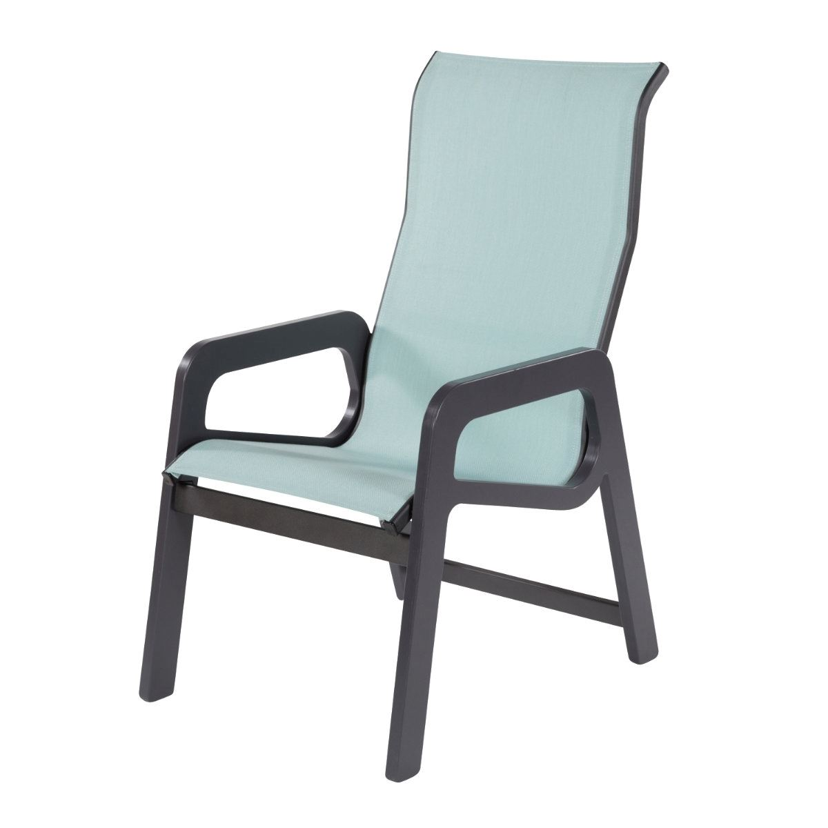 Malibu High Back Dining Arm Chair Fabric Sling With Marine Grade Polymer Stackable Frame 21 Lbs