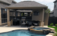 Backyard Pool Cabanas - We Built A Deck From Cypress With ...