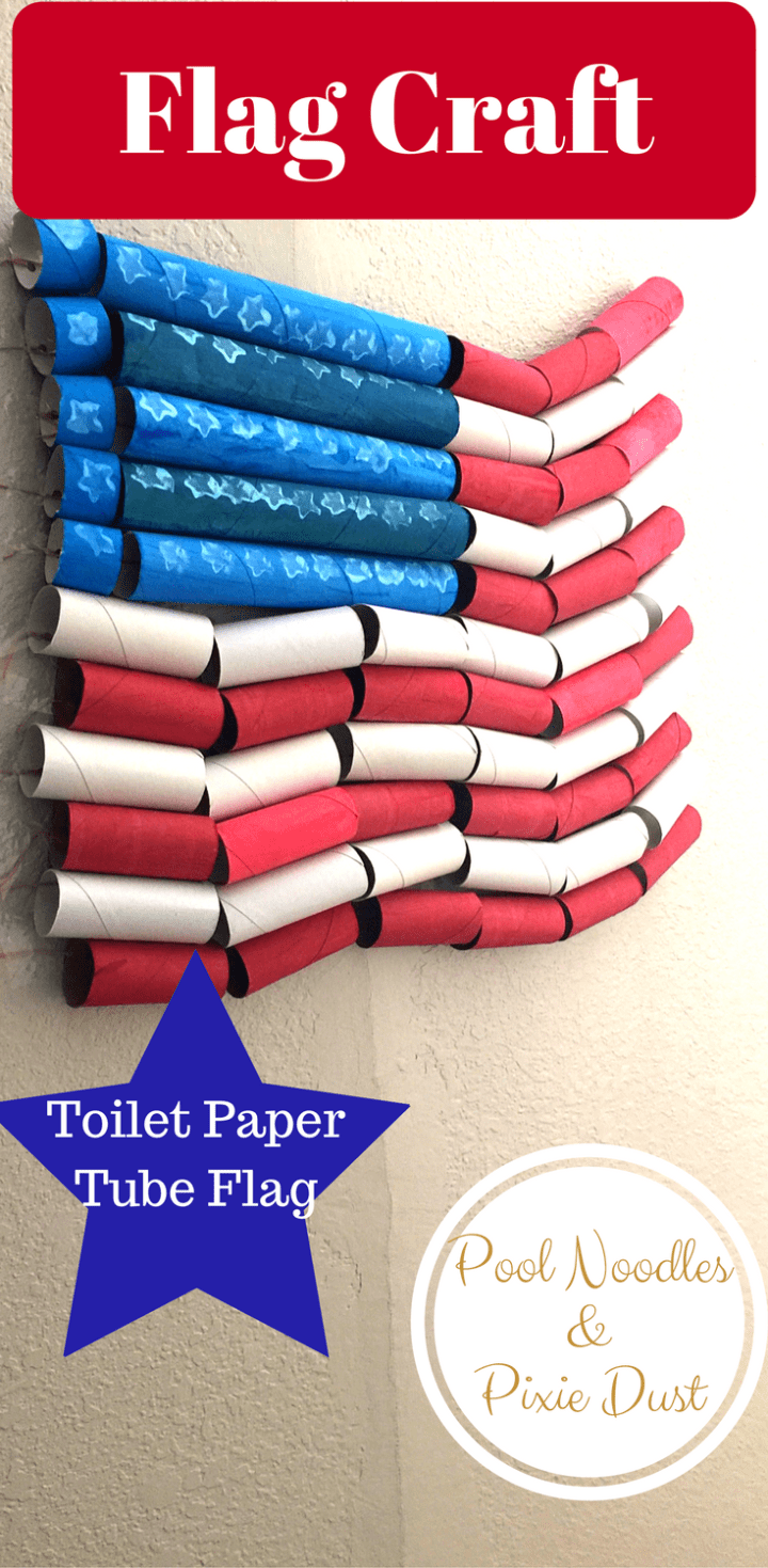 Toilet Paper Roll Flag Craft for flag day and 4th of July.