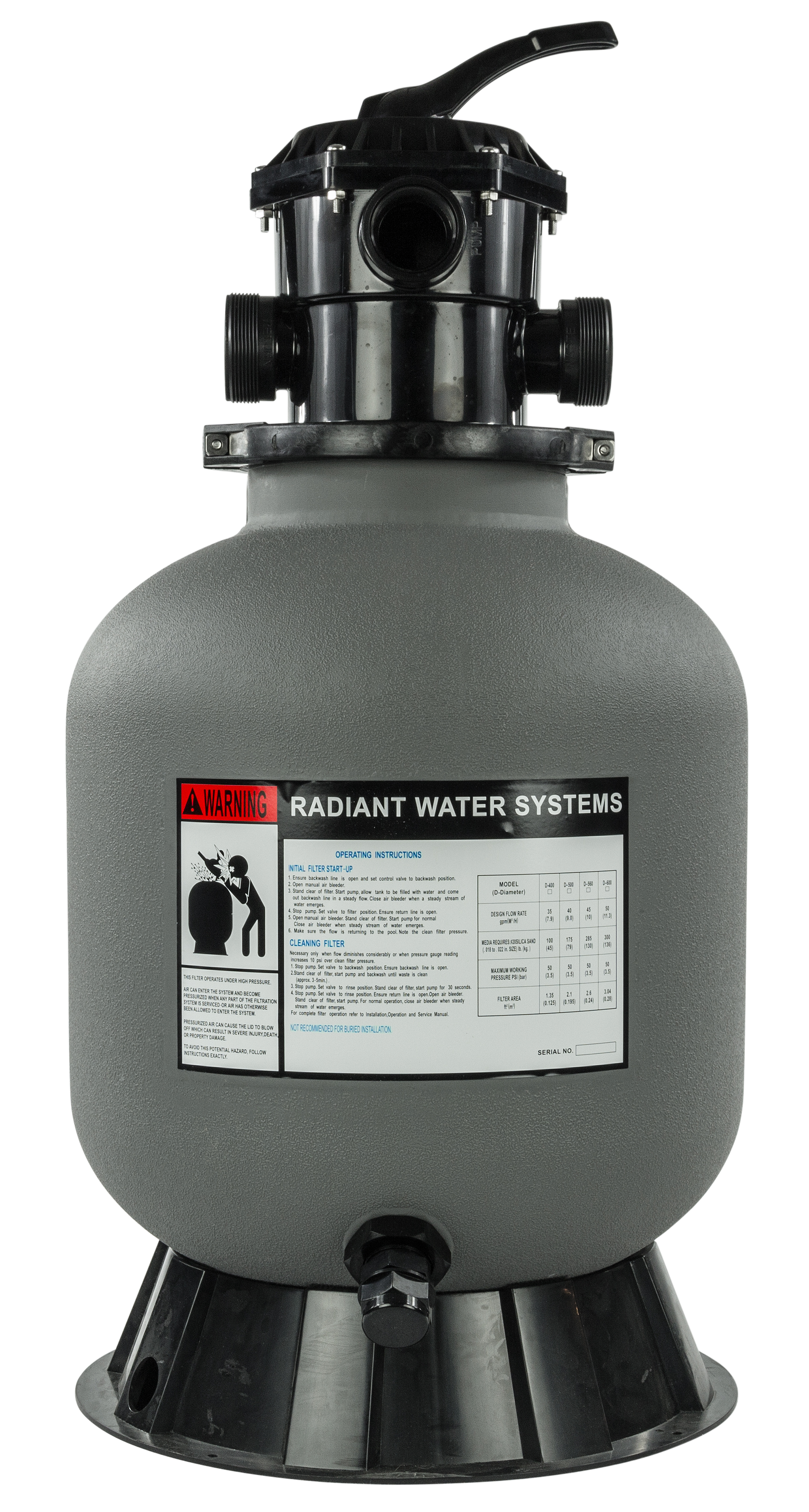 Rx Clear 174 24 Quot Radiant Sand Filter And Valve 300 Lbs
