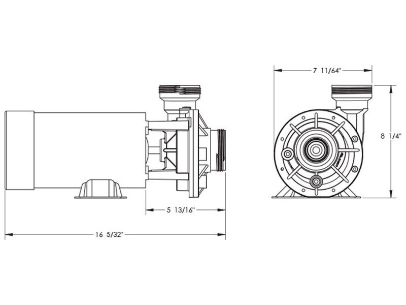 Waterway Hi-Flo II Horizontal Side Discharge 48-Frame 2HP