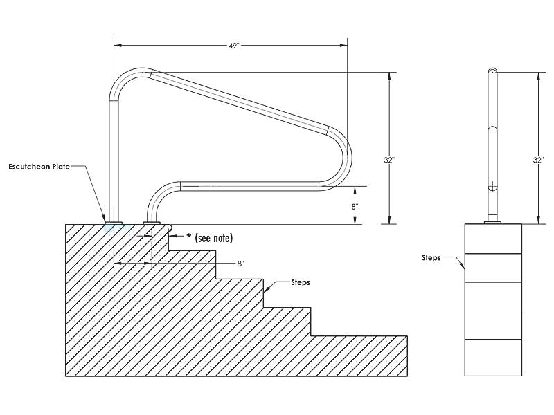 Inter-Fab Deck Top Mounted D3D 3 Bend Flanged Stair Rail