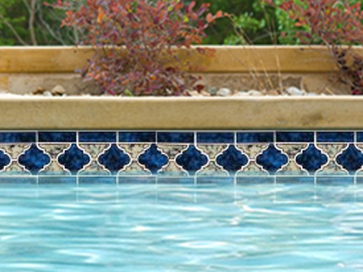 National Pool Tile Lantern Border Series  Royal Blue  LANROYAL