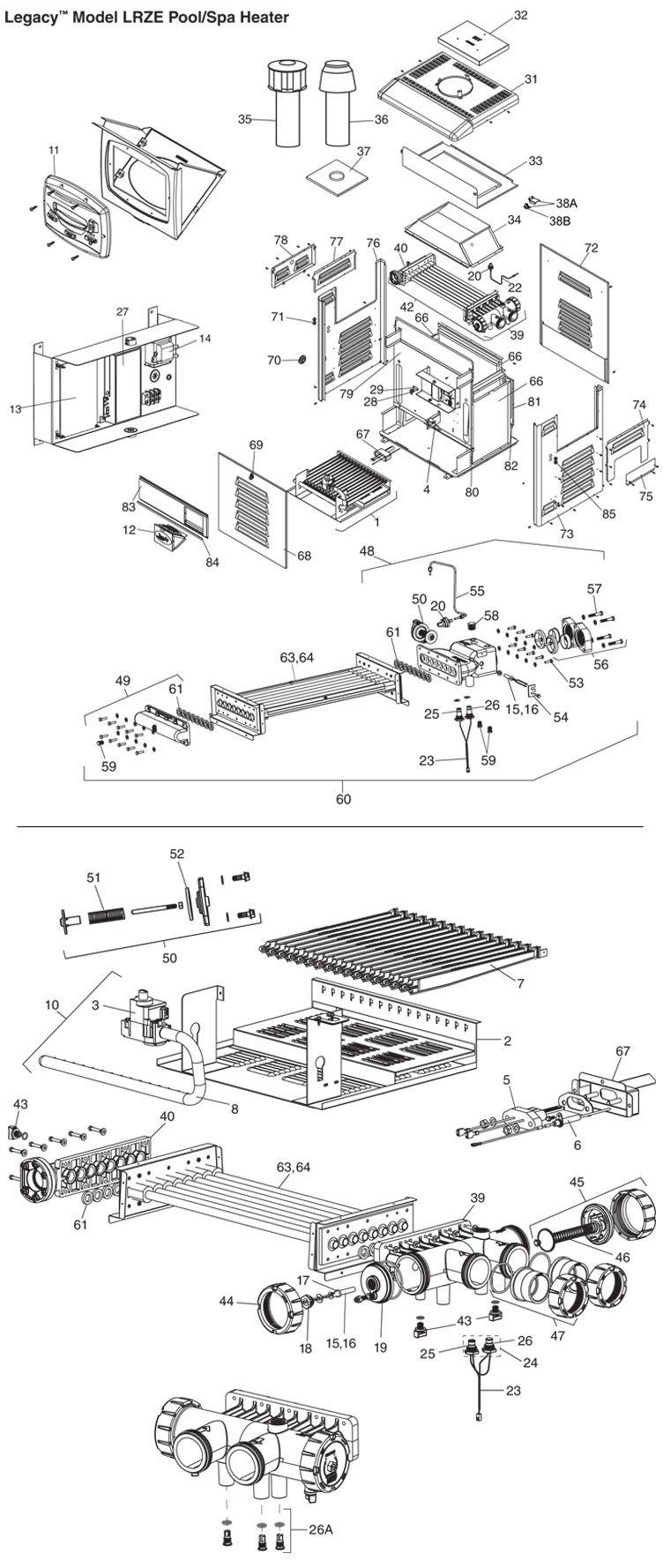 hight resolution of jandy legacy lrz pool heater 400 000 btu propane electronic ignition digital controls polymer heads lrz400ep parts