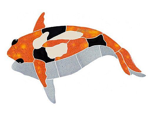 artistry in mosaics koi fish with shadow mosaic orange 6 x 11 kfsorals