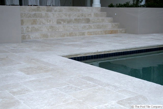 Linen Travertine tumbled unfilled Tiles  Pavers