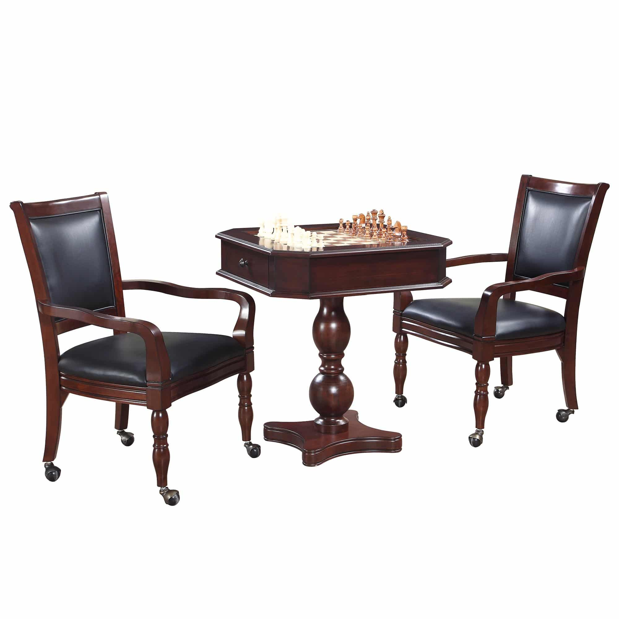 Fortress Chess, Checkers & Backgammon Pedestal Game Table