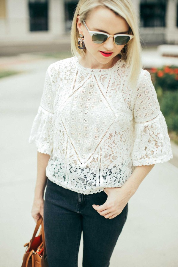 White Sheer Lace Blouse With Coordinating Bralette - Poor