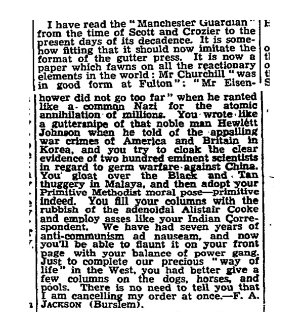 reader's letter to the Manchester Guardian 1952