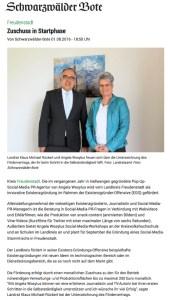 pop-up SocialMedia PR-Agentur erhält Existenzförderung durch Landratsamt Freudenstadt Landrat Rückert