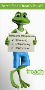 Pause : Ein Frosch gibt die Anleitung zu kurzen Fitnessübungen