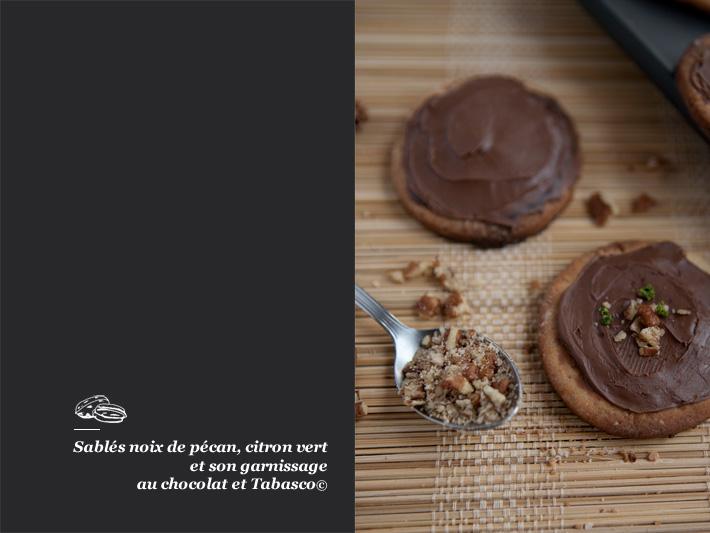 Sablés noix de pécan et chocolat au tabaco