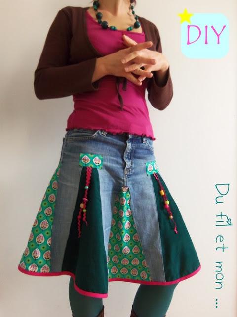 Recycler un vieux jean en jupe  Pop Couture