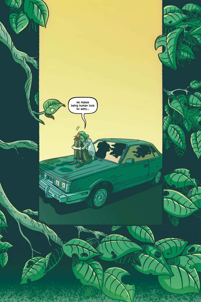 """Sneak Peak of page 65 of graphic novel. Alec is alone on the hood of his car with his arms around his knees. He thinks """"He makes being human look so easy..."""""""