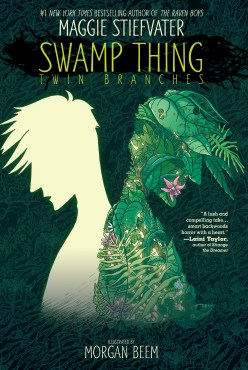 cover of Swamp Thing: Twin Branches. Cover includes the silhouettes of two young men facing away from each other--one is a yellow green and one is filled with plants.