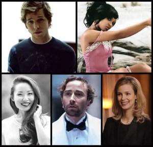 (clockwise l.-r from top.) Stark Sands, Meagan Good, Laura Regan, Daniel London, and Li Jun Li of Minority Report