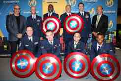 SACRAMENTO, CA - JUNE 17: (L-R top row) Wizard World COO Randy Malinoff, Major Virgil Steele, Staff Sgt. Johnathan Gales, Staff Sgt. Spencer Stone, Tech Sgt. John Ayre, Wizard World CEO John Maatta, and (L-R bottom row) Master Sgt. Matthew Warren, Senior Airman Ian McGuigan, Airman Sharnette Reyes, and Airman 1st Class Tahj Beaudoin onstage at the Wizard World Sacramento Honors Hometown Heroes event at the Sacramento Convention Center on June 17, 2016 in Sacramento, California. (Photo by Kelly Sullivan/Getty Images for Wizard World, Inc.)