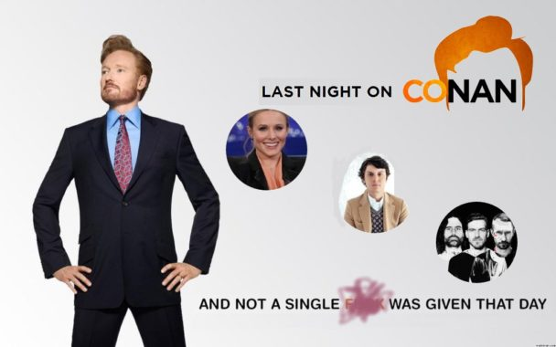 Last Night on CONAN (10/4): Kristen Bell, Evan Peters, Miike Snow