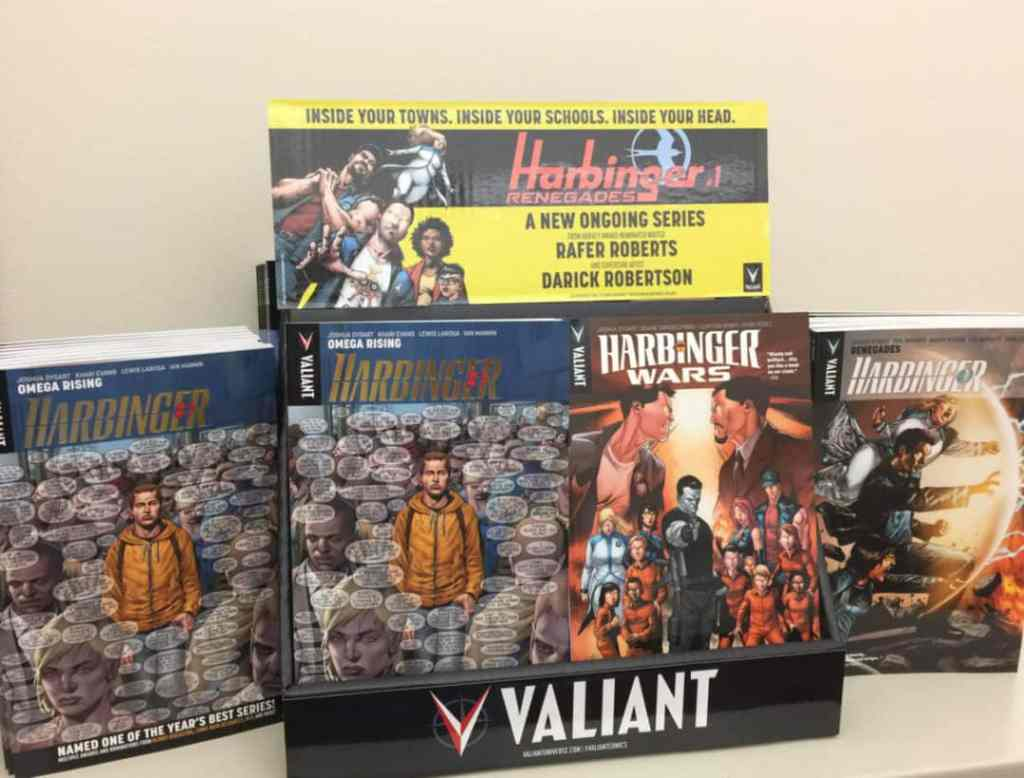 A HARBINGER RENEGADE two-pocket counter display, holding up to 60 comics or 14 graphic novels