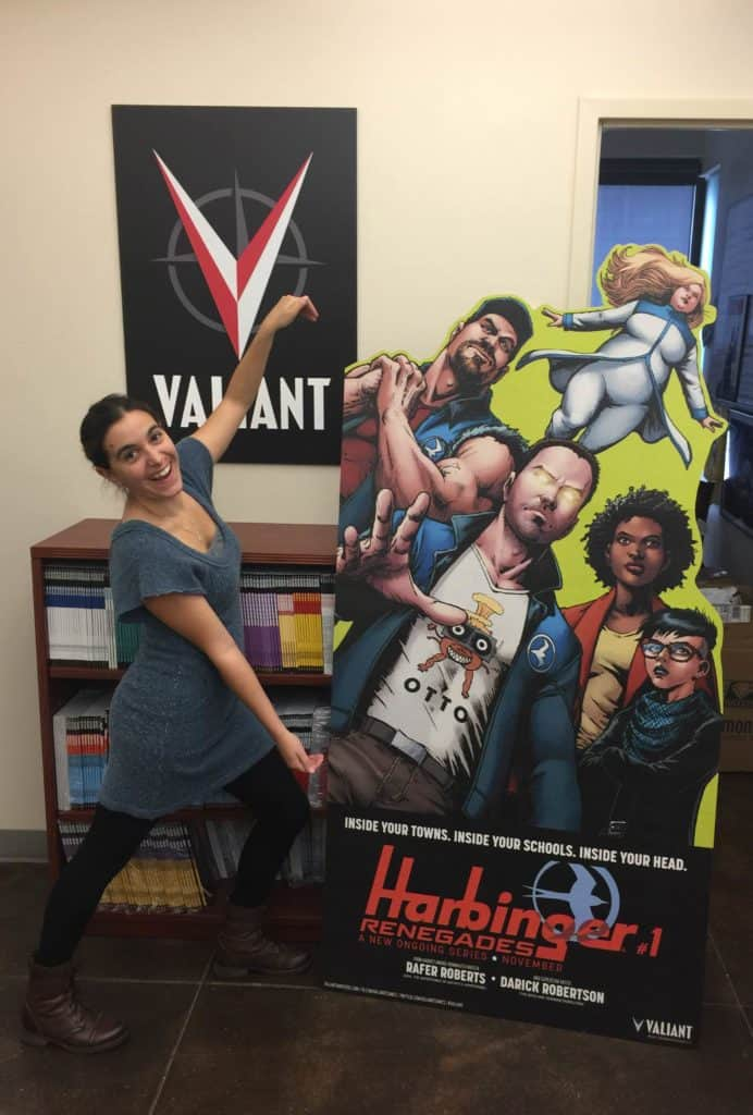 A six-foot-tall HARBINGER RENEGADE standee, featuring the art of comics legend Darick Robertson