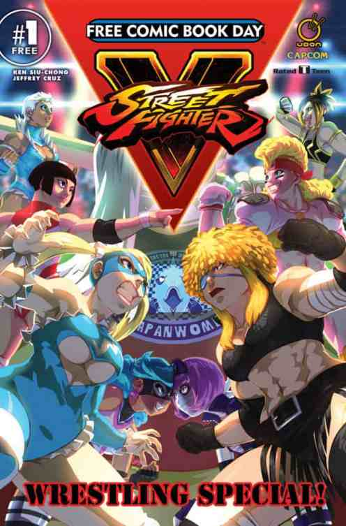 Let's wrestle! Street Fighter superstar Rainbow Mika and the ferocious femmes of the Iwashigahama Japan Women's Pro-Wrestling league headline the main event in this all-new story! Expect plentiful clotheslines, elbow drops, headlocks, and divebombs as these legendary ladies show why they're the queens of the ring! [TEEN]
