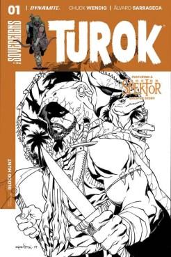Turok #1 - B&W Incentive Cover by Aaron Lopresti