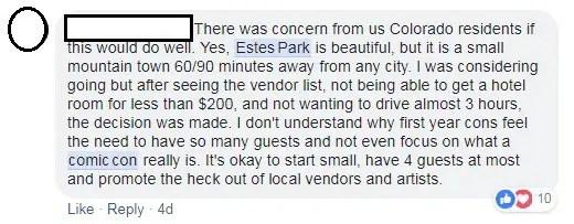 FB estes park comment