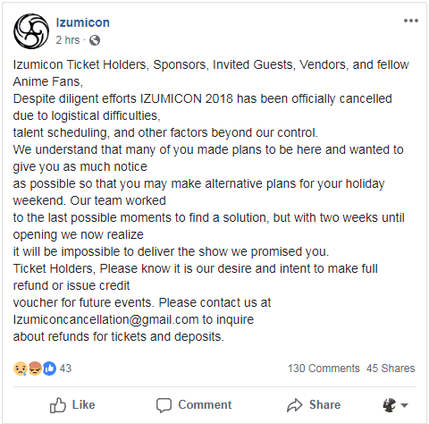 Izumicon official cancellation