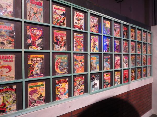 Comics on display.