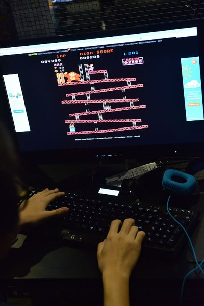 The classic Donkey Kong was included in the gaming booths