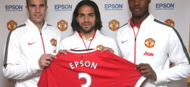 Epson and Manchester United Renew Global Sponsorship Agreement Robin van Persie Radamel Falcao Tyler Blackett