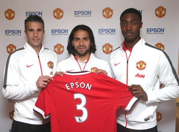 Epson and Manchester United Renew Global Sponsorship Agreement Robin van Persie Radamel Falcao Tyler Blackett