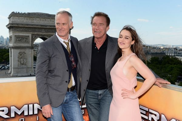 PARIS, FRANCE - JUNE 19:  (L-R)  Director Alan Taylor and Actors Arnold Schwarzenegger and Emilia Clarke pose during the France Photocall of 'Terminator Genisys' at the Publicis Champs Elysees on June 19, 2015 in Paris, France.  (Photo by Dominique Charriau/Dominique Charriau/Getty Images for Paramount Pictures) *** Local Caption *** Alan Taylor; Arnold Schwarzenegger; Emilia Clarke