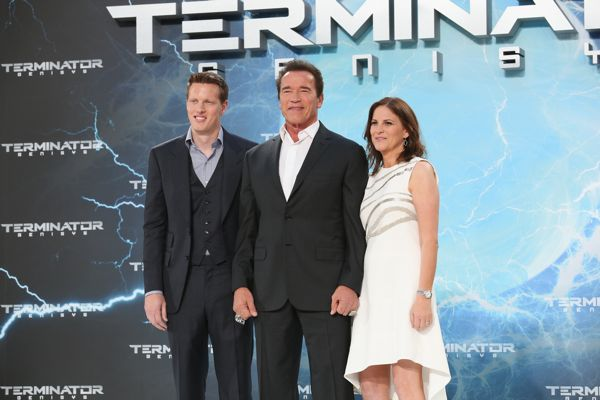 BERLIN, GERMANY - JUNE 21:  (L-R) Producer David Ellison, actor Arnold Schwarzenegger and producer Dana Goldberg attend the European Premiere of 'Terminator Genisys' at the CineStar Sony Center on June 21, 2015 in Berlin, Germany.  (Photo by Gisela Schober/Getty Images for Paramount Pictures International) *** Local Caption *** David Ellison