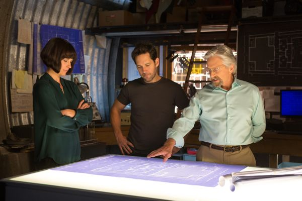 Marvel's Ant-Man..L to R: Hope Van Dyne (Evangeline Lilly), Scott Lang/Ant-Man (Paul Rudd) and Hank Pym (Michael Douglas)..Photo Credit: Zade Rosenthal..© Marvel 2014