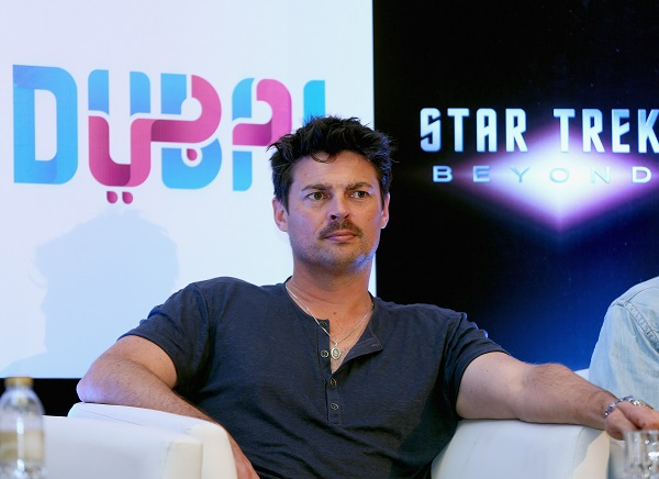 DUBAI, UNITED ARAB EMIRATES - SEPTEMBER 30: Actor Karl Urban attends a press conference promoting 'Star Trek Beyond' at Burj Al Arab on September 30, 2015 in Dubai, United Arab Emirates. (Photo by Francois Nel/Getty Images for Paramount Pictures) *** Local Caption *** Karl Urban