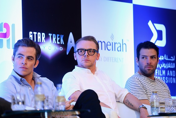 DUBAI, UNITED ARAB EMIRATES - SEPTEMBER 30: L-R: Actors Chris Pine, Simon Pegg, Zachary Quinto, attend a press conference promoting 'Star Trek Beyond' at Burj Al Arab on September 30, 2015 in Dubai, United Arab Emirates. (Photo by Francois Nel/Getty Images for Paramount Pictures) *** Local Caption *** Chris Pine; Simon Pegg; Zachary Quinto