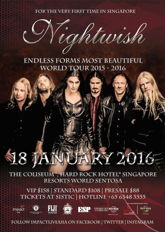 Nightwish Endless Forms Most Beautiful World Tour 2015 - 2016 Concert Poster