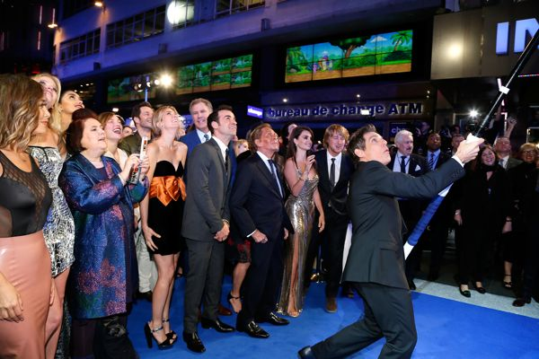 "LONDON, ENGLAND - FEBRUARY 04: Ben Stiller with cast and guests attempt a record breaking selfie during a London Fan Screening of the Paramount Pictures film ""Zoolander No. 2"" at the Empire Leicester Square on February 4, 2016 in London, England. (Photo by Getty Images/Getty Images for Paramount Pictures) *** Local Caption *** Ben Stiller; Justin Theroux; Valentino; Christine Taylor; Penelope Cruz; Owen Wilson"