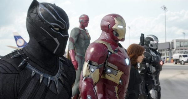 Marvel's Captain America: Civil War..L to R: Black Panther/T'Challa (Chadwick Boseman), Vision (Paul Bettany), Iron Man/Tony Stark (Robert Downey Jr.), Black Widow/Natasha Romanoff (Scarlett Johansson), and War Machine/James Rhodey (Don Cheadle)...Photo Credit: Film Frame..© Marvel 2016