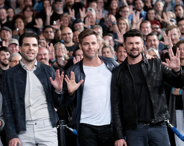 """HOLLYWOOD, CA - MAY 20: (L-R) Actors Zachary Quinto, Chris Pine, and Karl Urban attend the unveiling of the newly named """"Leonard Nimoy Way"""" during the Star Trek Beyond Fan Event at Paramount Pictures Studios on May 20, 2016 in Hollywood, California. (Photo by Jason Kempin/Getty Images for Paramount) *** Local Caption *** Zachary Quinto;Chris Pine;Karl Urban"""
